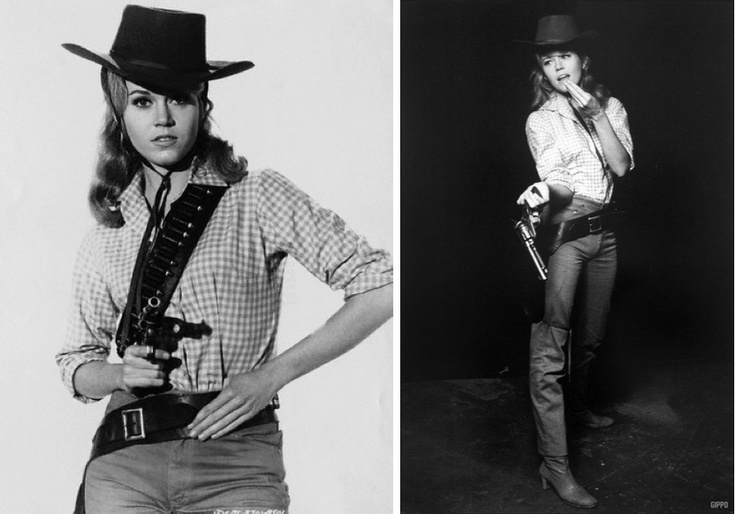 Photo of Jane Fonda, dressed as her character Catherine Ballou for the comedic western film Cat Ballou, by John Springer, 1965