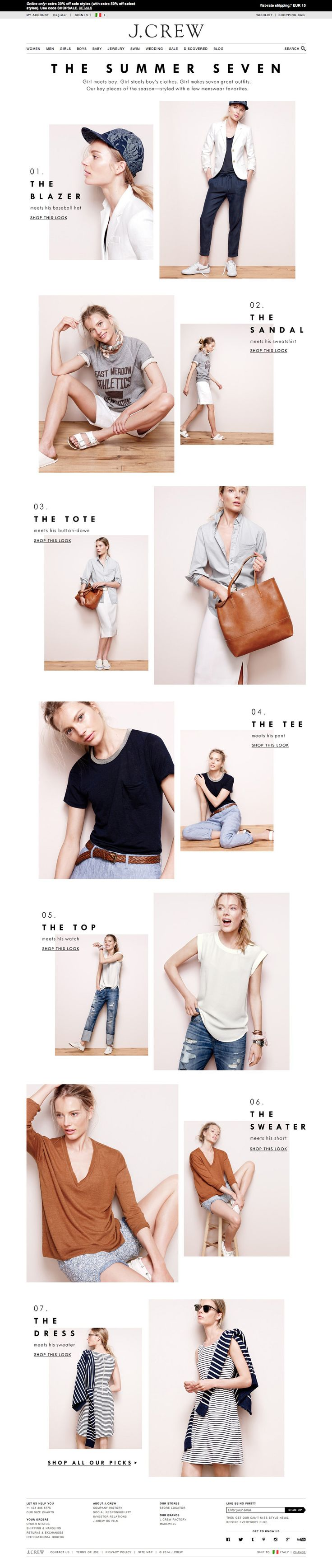#landingpage J.Crew 04.2014 The Summer Seven
