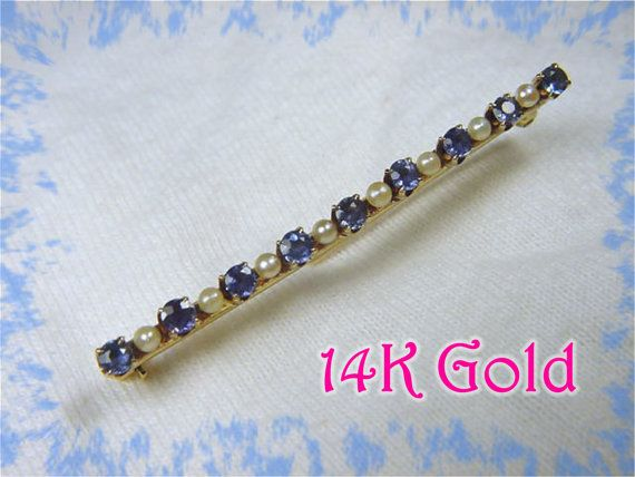 14K Gold - Ceylon Sapphire & Seed Pearl Bar Pin Brooch - Early 1900s Edwardian Estate Treasure - FREE SHIPPING