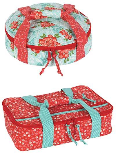 "Pretty potluck carriers for all your family and festive gatherings! Carry pies, cupcakes, casseroles and more to all your holiday potlucks and parties in these stylish, quilted carriers. The perfect wedding or housewarming gift, these carriers will keep your casseroles piping hot and your desserts chilled. Finished sizes: Casserole carrier: 9 1/2""W x 14 1/2""H x 4""D to fit standard 9"" x 13"" baking dish Pie carrier: 3""H x 11 1/2"" in diameter"