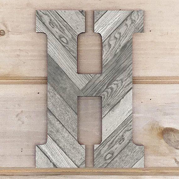 12 Gray Rustic Wood Plank Look Lettergallery Wall Etsy In 2020 Wood Initials Wood Letters Gallery Wall Letters