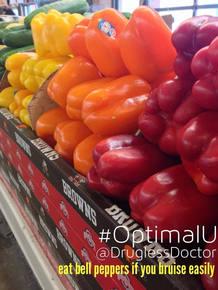 Hi everyone! Do you bruise easily? My #OptimalU for today on page 109 suggests a prothrombin time test with your healthcare provider and eat raw bell peppers (yellow, orange, and red) since they are a good source of vitamin C. #health #tip #food #peppers #vitaminC