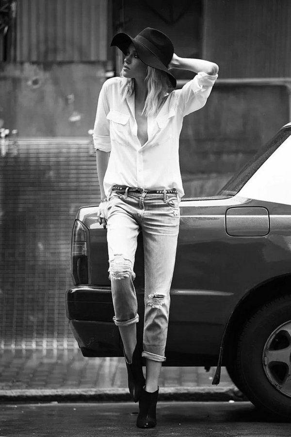 """La tendance du jean boyfriend femme continue être en top pour cette année. Au printemps de 2014 on a vu beaucoup de """"stars"""" qui adoptent ce style casuel et"""