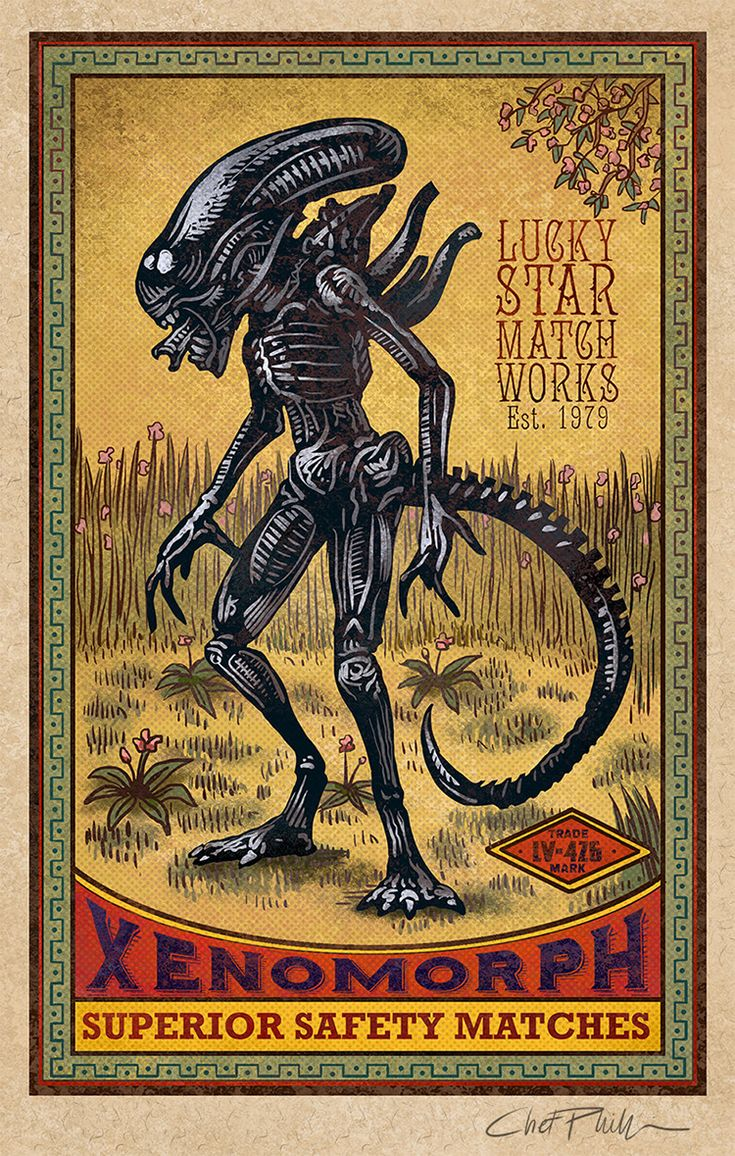 Vintage Matchbox Inspired Artwork Featuring Pop Culture Monsters From Movies and Mythology