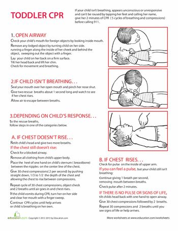 Worksheets: Toddler CPR Steps