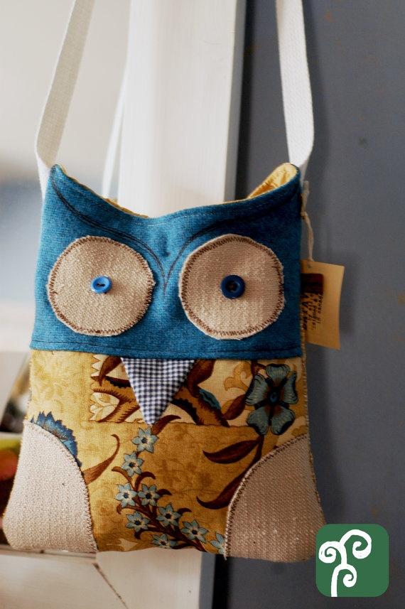 Fun Blue Wooly Owl Bag by BataviaBySil on Etsy, $45.00