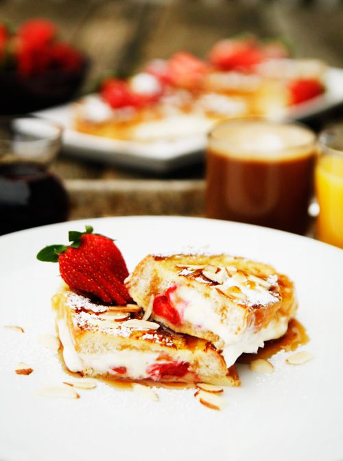 Strawberry Almond Stuffed French Toast A delicious stuffed French toast with strawberries,