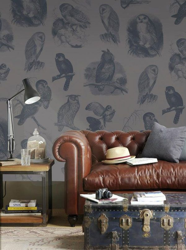 Lanalou Style | Robin Sprong wallpaper | http://lanaloustyle.com featured our Soil Design Owls wallpaper.