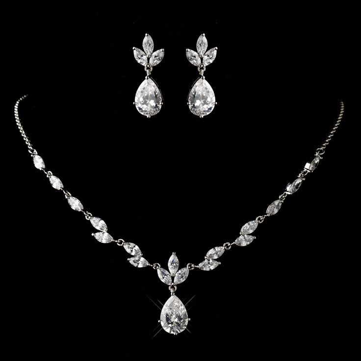 Love this Dainty Rhodium Plated CZ Wedding Jewelry Set