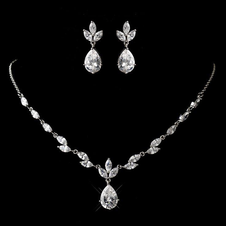 Love this Dainty Rhodium Plated CZ Wedding Jewelry Set