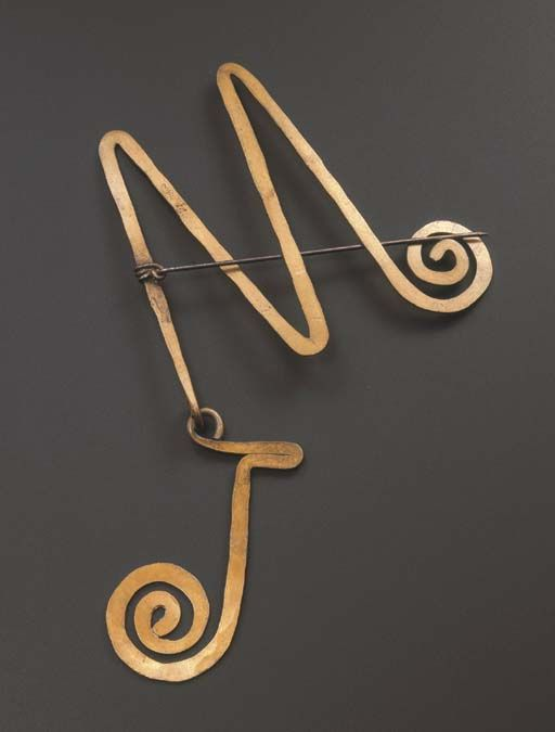 JW Initial Pin | Alexander Calder. Brass. ca 1950. | Sold by Christies NY on 23 September 2003 for 31,070$