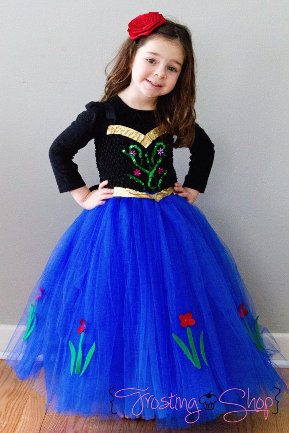 Princess Anna is from the new Disney Movie, Frozen. This listing is for one dress. ***Please enter the childs chest circumference and length from the underarm to the ankle in the Notes section upon checkout.***  *** If you child is larger then a typical size 6, please message me measurements BEFORE purchase to ensure the materials I use will work. This will avoid the need to refund which can take several days to process.***  Gold bow in front and back.