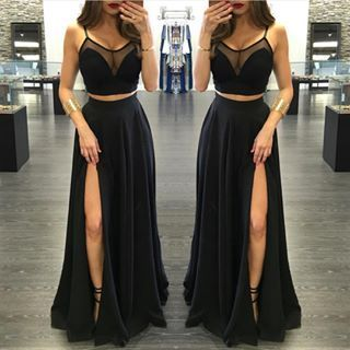 Charming Prom Dress,Two Piece Prom Dress,Black Prom Dress,Chiffon