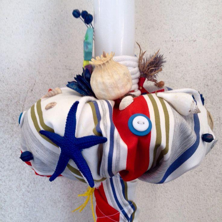 Christening baby boy candle #navy theme #handmade by Atelier Floristic Aleksandra