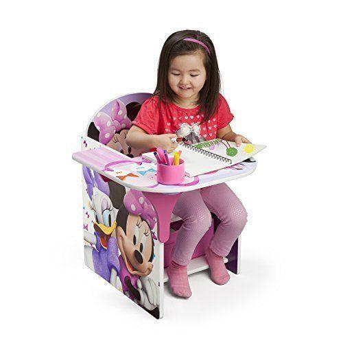 Kids Desk Chair w/ Storage Bin Disney Minnie Mouse Reading Eating Table Girls  #DeltaBrand
