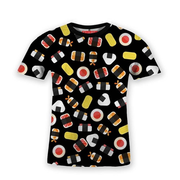 Basic T-Shirt Sushi Japanese Food Pattern Black #Hooman #BasicTee #Expertees #Henley #banana #t-shirt #fashion #tees #fruits #food #sushi #sale #apparel #japan