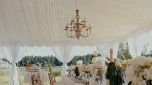 Lovely table setting tent scene from JUMPING THE BROOM, movie