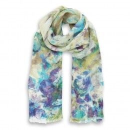 Turquoise Summer Flowers Linen Stole