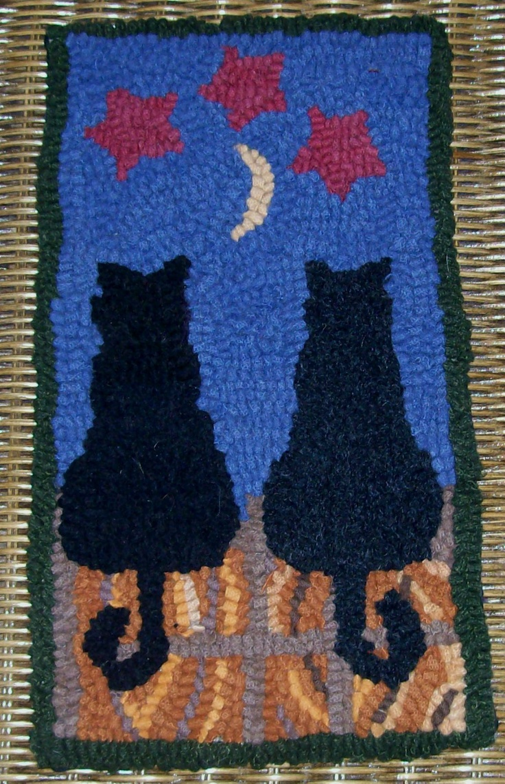 Midnight And Charcoal Cats Original Primitive Rug Hooking Kit On Monks Cloth