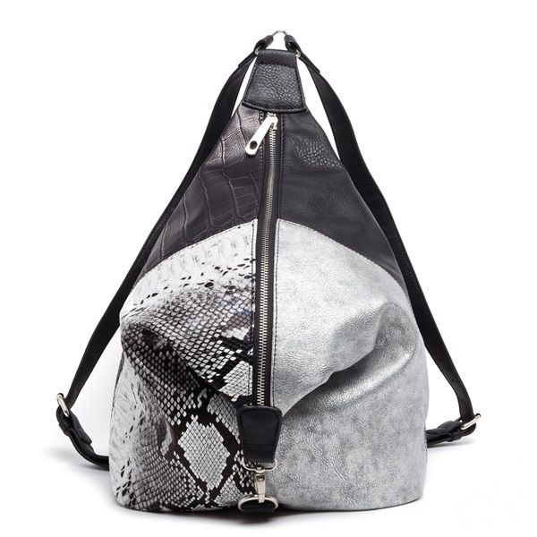 Black backpack with silver, croco and snakesking surfaces.