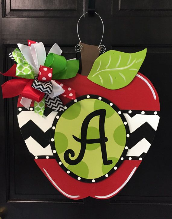 Initial Apple Door Hanger, Back to School Decor, Wooden Apple Decoration