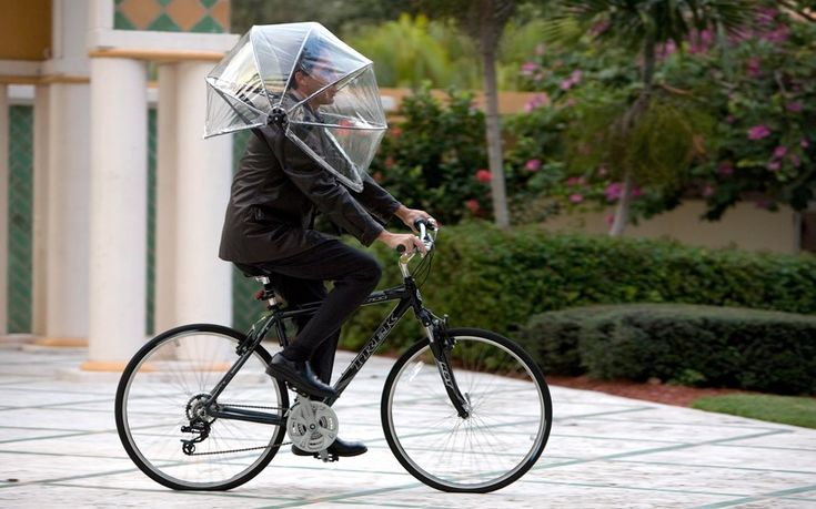 The new hands-free Nubrella umbrella resembles a bubble wrapped around the wearer's head and shoulders and is designed to resist winds up to 50mph
