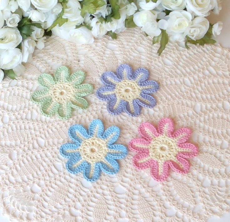 6 crochet fantasy flowers