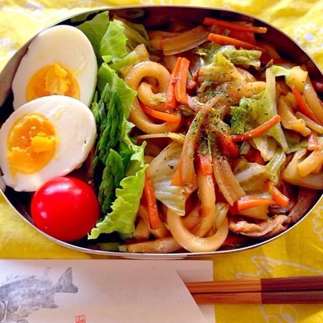 ・焼うどん ・ゆで卵 ・アスパラガス ・ミニトマト - 20件のもぐもぐ - *焼うどん弁当* by mietter