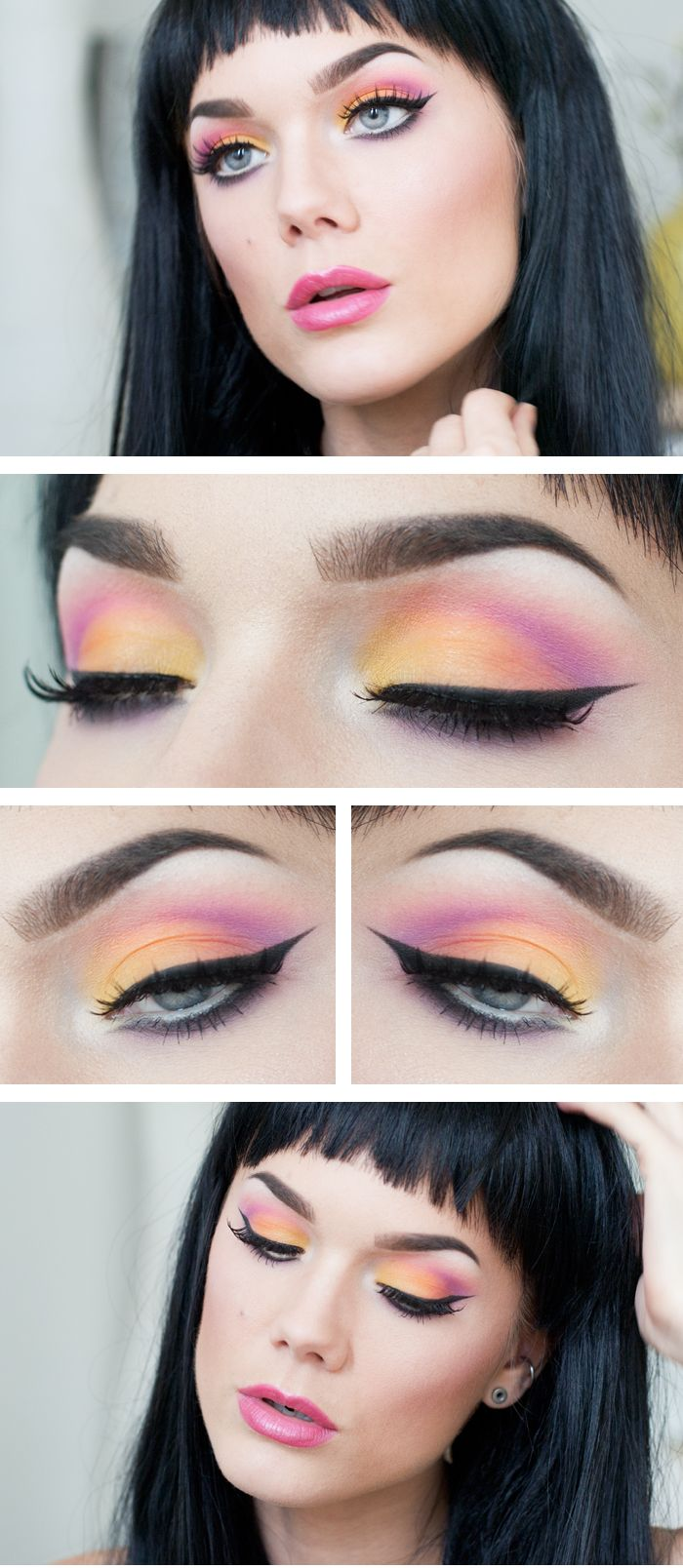 """Today's Look : """" Paradise City"""" -Linda Hallberg ( another great summer eye look! This one is oranges and pinks at their best. Paired with a beautiful pink lip, with a subtle ombre effect.) 05/27/13"""