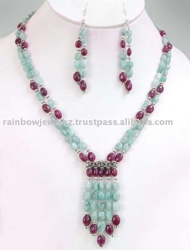 Source 2 strands emerald ruby Designer Gemstone Necklace/Gurgaon Delhi on m.alibaba.com