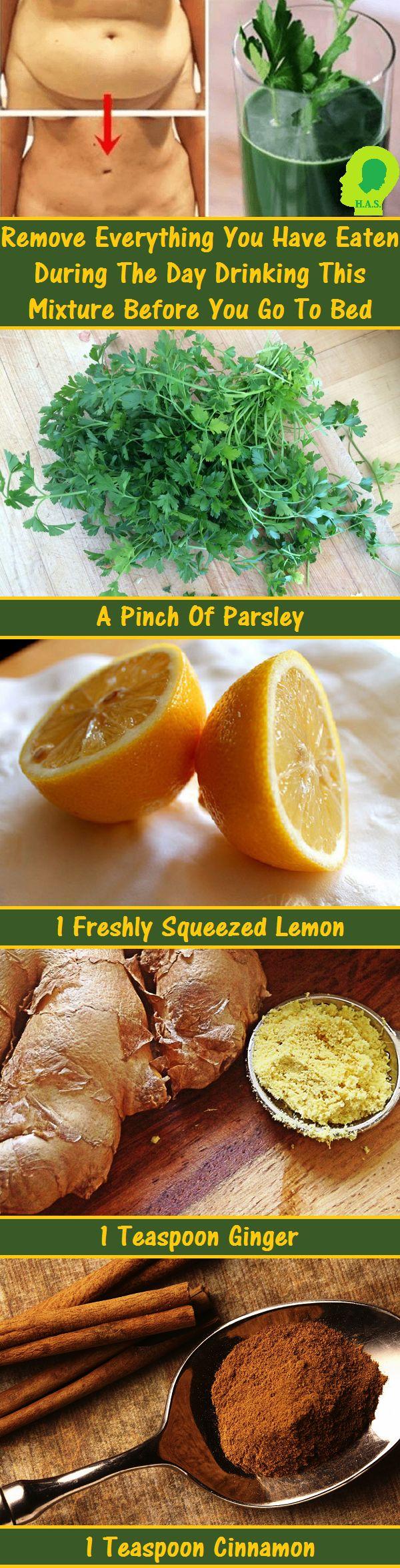 Parsley ginger juice with lemon and cinnamon - add honey