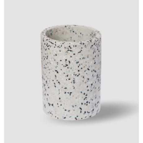This attractive small white terrazzo pot is ideal for displaying a cactus or succulent. It can also be used for storing toothbrushes, make-up brushes or kitchen utensils.   This sturdy small white terrazzo vaselooks equally at home in a modern kitchen, bathroom, bedroom or living area.The sturdy small white terrazzo pot has an eye-catching black, white, and grey decorative pattern.   Zakkia was founded by Swede Sara Lundgren whose handmade home-wares combine Scandinavian simplicity with a…