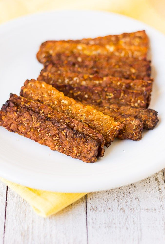 Smoky Baked Tempeh Bacon- Simply slice, marinate and bake! No frying required.