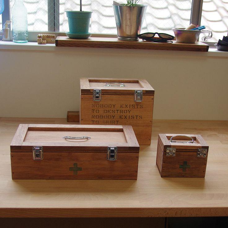 救急箱Mサイズミニサイズ救急木箱木箱箱エマージェンシーボックス日本製収納箱