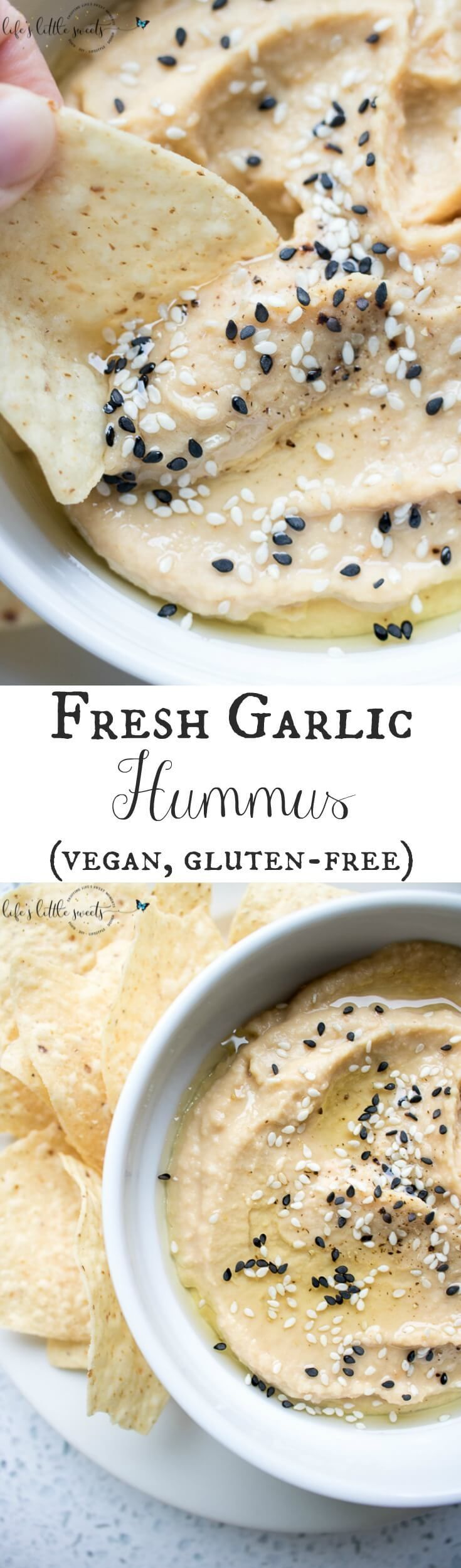 This Fresh Garlic Hummus takes minutes to make with simple ingredients like chickpeas, fresh garlic, tahini, olive oil, salt and pepper - savory, fresh and delicious, serve it with tortilla chips, tortillas, bread, or in sandwiches!