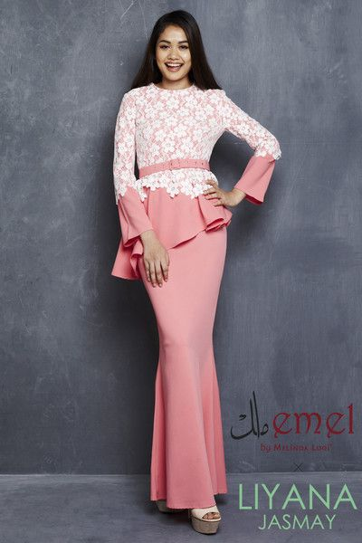 EMEL X LIYANA JASMAY - LARA - MODERN PEPLUM WITH LACE (PINK)  Look sweet and youthful in this cheerful coloured peplum piece. Featuring floral lace with matching coloured crystals and side pleats. Adjustable belt included with purchase (removable).