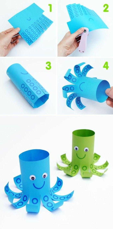 tutoriel pour fabriquer une pieuvre en papier, étape par étape, pieuvre verte et pieuvre bleue, idée activite manuelle facile maternelle enfant