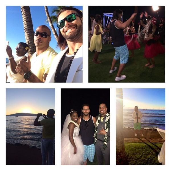 Justin Gabriel celebrating at the wedding of Jon Fatu  Trinity McCray in Hawaii