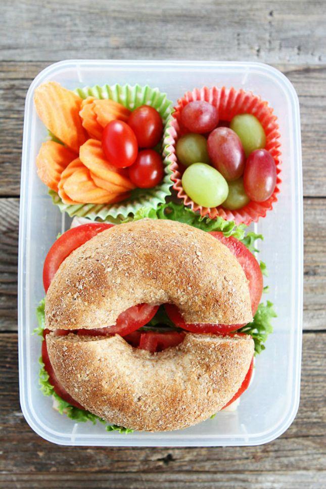 Make a Turkey Havarti Bagel Sandwich for a delicious bento box lunch.