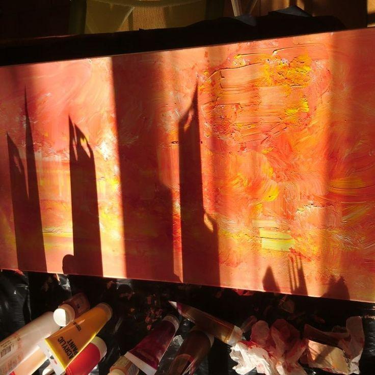 Ébauche tableau acrylique abstrait réalisation. En. Cours par les belles creas d Isa. Couché de soleil ☀ 🌇