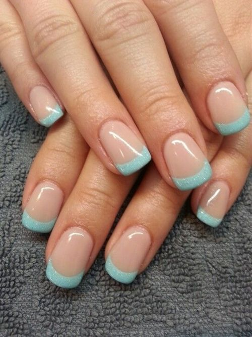 Nude and teal French manicure - Click image to find more nail art posts