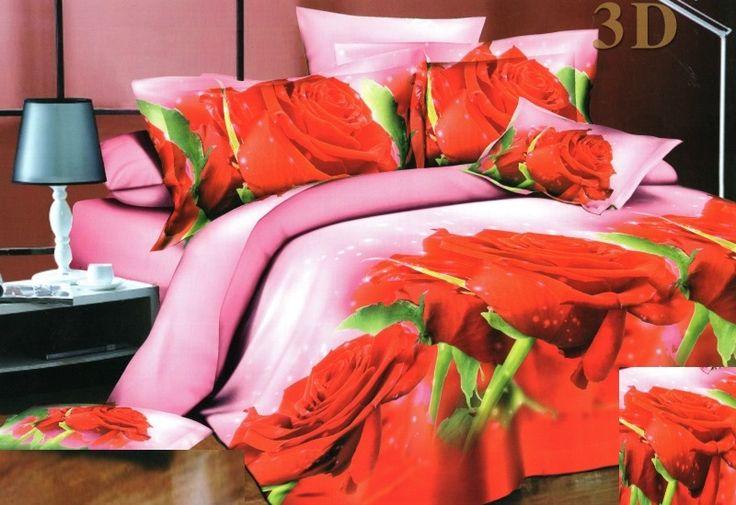 Posteľné obliečky v ružovej farbe s červenými ružami
