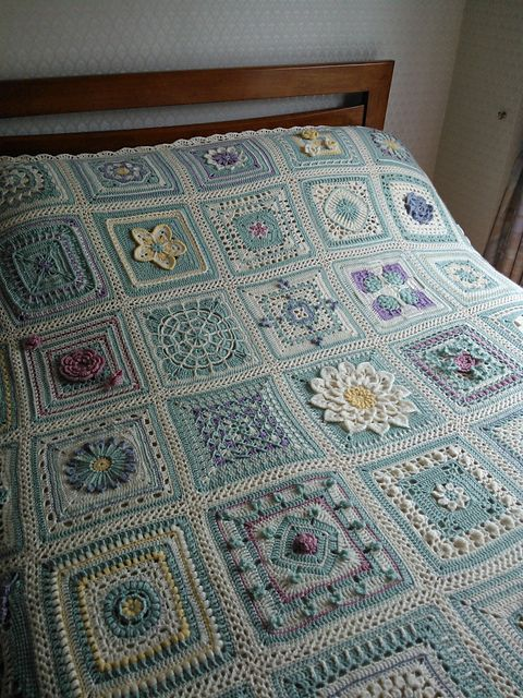 Maybe your grama's quilt...~B~Lettice's English Country Garden Afghan ~ color Inspiration