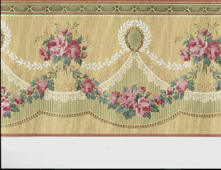 victorian roses on golden coral silk wallpaper border