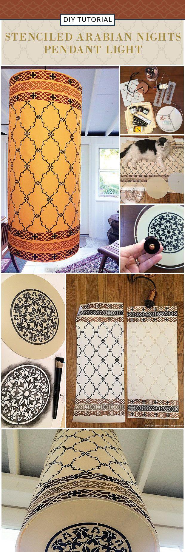 DIY Tutorial - Stenciled Arabian Nights Pendant Light using Royal Design Studio Craft Stencils