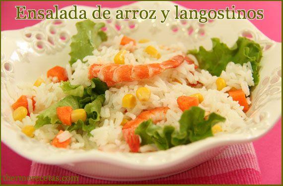 Ensalada de arroz y langostinos - http://www.thermorecetas.com/2013/07/03/ensalada-de-arroz-y-langostinos/