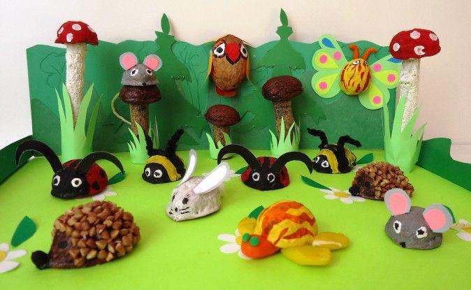 «Ореховая сказка». Поделки из скорлупы грецкого ореха с детьми средней группы Фото