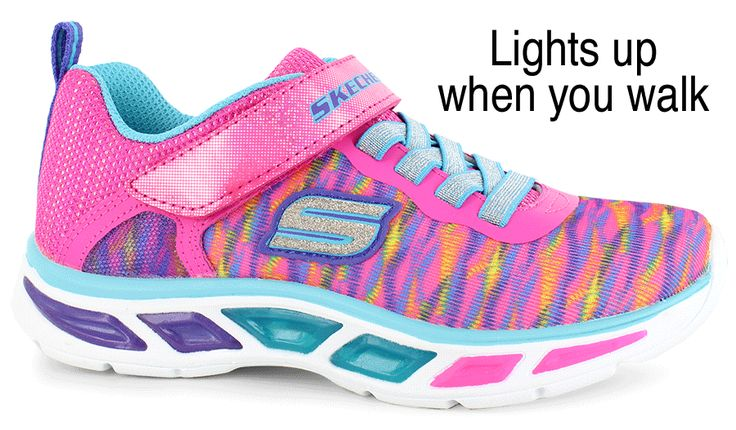 Walk in your own light with these Skechers® sneakers:<br/>woven mesh fabric upper, bungee lace-up front and hook-and-loop strap closure provide a secure fit, lightly padded footbed, translucent midsole side pods light up when you step, flexible nonmarking outsole
