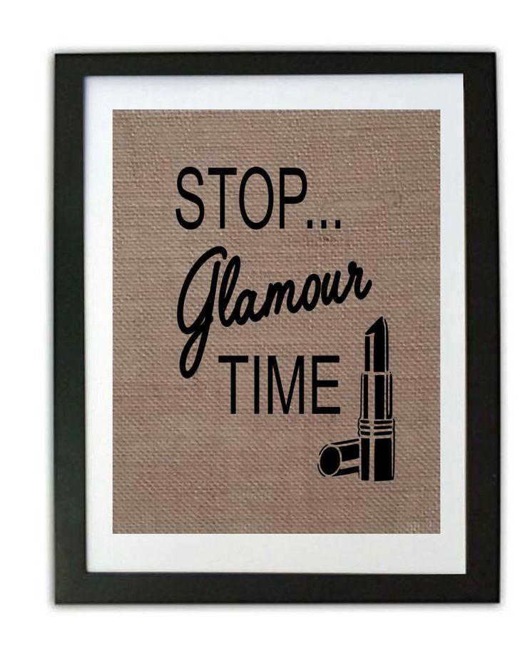 Funny Bathroom Burlap Print / Bathroom Print / Rustic Home Decor / Stop Glamour Time/ Cute Bathroom Sign/ Burlap Bathroom Print by momakdesign on Etsy