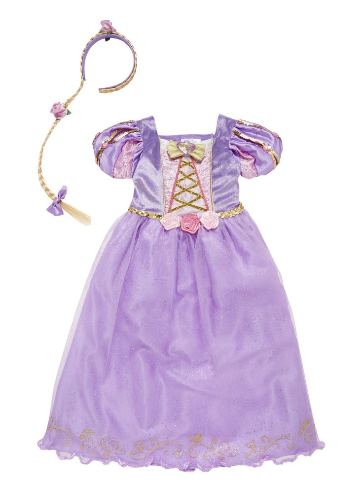 Rapunzel is one of Disney's most loved princesses and little girls will love dressing up as her. Let their imagination run wild with this fancy dress costume including dress and matching headband. Rapunzel fancy dress costume Headband included Keep away from fire